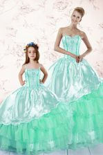 Elegant Apple Green Quinceanera Dresses Military Ball and Sweet 16 and Quinceanera with Embroidery and Ruffled Layers Sweetheart Long Sleeves Lace Up