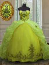 Hot Sale Beading and Appliques and Pick Ups 15 Quinceanera Dress Yellow Green Lace Up Sleeveless With Train Court Train