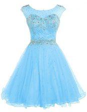 Wonderful Sleeveless Tulle Knee Length Zipper Prom Dresses in Baby Blue with Beading