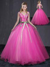 Floor Length Hot Pink Vestidos de Quinceanera V-neck Sleeveless Lace Up