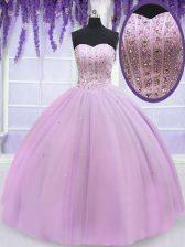 Lilac Sweetheart Lace Up Beading Sweet 16 Dress Sleeveless