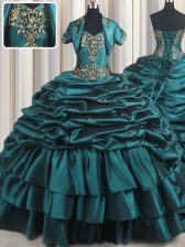 Pick Ups Teal Sleeveless Taffeta Brush Train Lace Up Sweet 16 Quinceanera Dress for Military Ball and Sweet 16 and Quinceanera