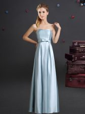 Floor Length Zipper Dama Dress Light Blue for Prom and Party and Wedding Party with Bowknot