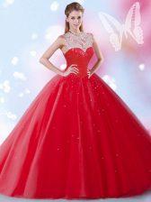 Great Sequins Floor Length Ball Gowns Sleeveless Red Sweet 16 Quinceanera Dress Zipper