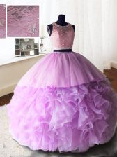 Scoop Lilac Sleeveless Organza and Tulle and Lace Brush Train Zipper Sweet 16 Dress for Military Ball and Sweet 16 and Quinceanera