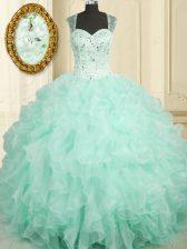 Flare Straps Sleeveless Zipper Sweet 16 Quinceanera Dress Aqua Blue Organza