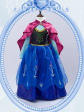 Smart Royal Blue High-neck Zipper Embroidery Toddler Flower Girl Dress Long Sleeves