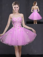 Lilac Prom Gown Prom and Party with Appliques Sweetheart Sleeveless Lace Up