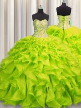 Lovely Visible Boning Yellow Green Ball Gowns Sweetheart Sleeveless Organza Floor Length Lace Up Beading and Ruffles Quinceanera Gowns