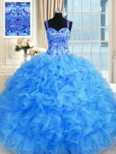 Excellent Baby Blue Sleeveless Organza Lace Up Quinceanera Gown for Military Ball and Sweet 16 and Quinceanera