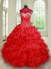 Customized See Through Floor Length Red Quince Ball Gowns Organza Sleeveless Beading and Ruffles and Pick Ups