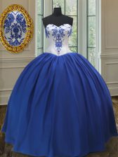 Ideal Royal Blue 15 Quinceanera Dress Military Ball and Sweet 16 and Quinceanera with Embroidery Sweetheart Sleeveless Lace Up