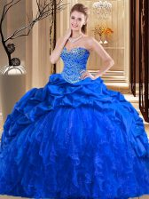 Sleeveless Taffeta and Tulle Brush Train Lace Up Ball Gown Prom Dress in Royal Blue with Beading and Ruffles