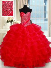 Custom Design Sleeveless Beading and Ruffled Layers Lace Up Quinceanera Gown
