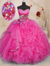 Latest Sleeveless Beading and Ruffles Lace Up Quince Ball Gowns