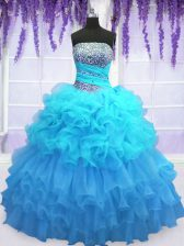 Shining Aqua Blue Sleeveless Floor Length Beading and Ruffled Layers and Pick Ups Lace Up Vestidos de Quinceanera
