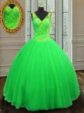 Beading Quinceanera Dresses Green Zipper Sleeveless Floor Length