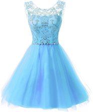 Scoop Sleeveless Zipper Knee Length Beading Prom Dress