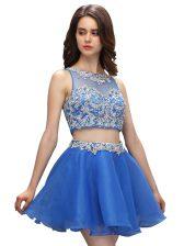 Dynamic Scoop Blue Sleeveless Beading Mini Length Evening Dress