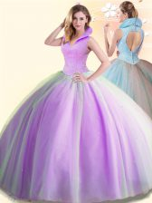 Hot Selling Lilac Sleeveless Tulle Backless Vestidos de Quinceanera for Military Ball and Sweet 16 and Quinceanera