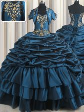 Teal Ball Gowns Beading and Appliques and Pick Ups Ball Gown Prom Dress Lace Up Taffeta Sleeveless With Train