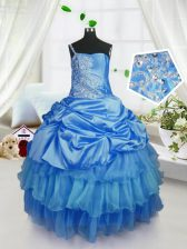 Beautiful Strapless Sleeveless Organza Little Girl Pageant Dress Beading and Ruffled Layers and Pick Ups Lace Up