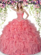 Coral Red Ball Gowns Organza Sweetheart Sleeveless Beading and Ruffles Floor Length Lace Up Sweet 16 Dresses