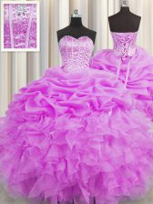 Visible Boning Lilac Ball Gowns Sweetheart Sleeveless Organza Floor Length Lace Up Beading and Ruffles and Pick Ups 15 Quinceanera Dress