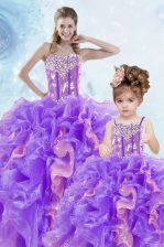 Glorious Multi-color Sweetheart Lace Up Beading and Ruffles and Sequins Sweet 16 Dresses Sleeveless