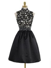 Black Sleeveless Beading and Appliques Mini Length Prom Gown
