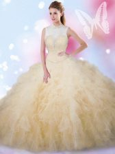 Affordable Champagne High-neck Neckline Beading and Ruffles Sweet 16 Dress Sleeveless Lace Up