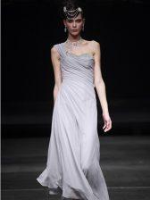 Floor Length Silver Prom Party Dress Chiffon Sleeveless Ruching