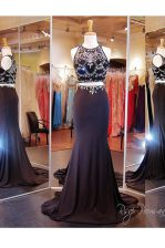 Black Scoop Zipper Beading and Appliques Prom Dresses Brush Train Sleeveless