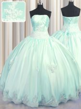Strapless Sleeveless Taffeta 15 Quinceanera Dress Beading and Appliques Lace Up