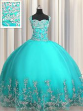 Comfortable Aqua Blue Lace Up 15th Birthday Dress Beading and Appliques Sleeveless Floor Length