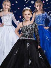Black Asymmetric Zipper Beading Kids Formal Wear Sleeveless