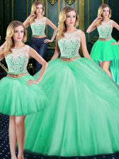 Four Piece Pick Ups Floor Length Apple Green Quinceanera Gown Scoop Sleeveless Zipper