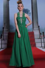 Halter Top Teal Column/Sheath Beading and Ruching Prom Dresses Zipper Chiffon Sleeveless Floor Length
