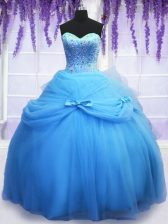 Modern Blue Sweetheart Neckline Beading and Bowknot 15th Birthday Dress Sleeveless Lace Up