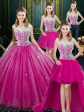 Four Piece High-neck Sleeveless Tulle Quinceanera Gown Lace Zipper