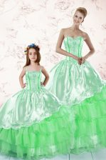 Green Ball Gowns Embroidery and Ruffled Layers Ball Gown Prom Dress Lace Up Organza Sleeveless Floor Length