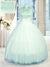 Inexpensive Sleeveless Floor Length Beading Zipper 15 Quinceanera Dress with Apple Green
