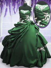Traditional Pick Ups Ball Gowns Quince Ball Gowns Dark Green Strapless Taffeta Sleeveless Floor Length Lace Up