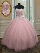 Fine Baby Pink Ball Gowns Organza Sweetheart Sleeveless Beading and Belt Floor Length Lace Up Ball Gown Prom Dress