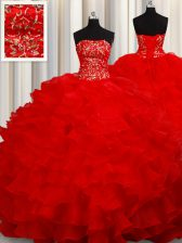 Sleeveless Floor Length Beading and Embroidery and Ruffles Lace Up Sweet 16 Dress with Red
