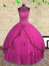 Halter Top Fuchsia Lace Up Vestidos de Quinceanera Beading Sleeveless Floor Length