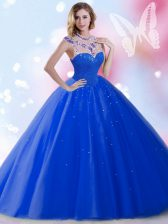 Exquisite Royal Blue Sleeveless Beading and Sequins Floor Length 15 Quinceanera Dress