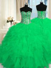 Latest Floor Length Green Quinceanera Dress Sweetheart Sleeveless Lace Up