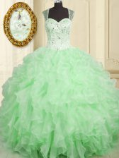 Lovely Straps Sleeveless Organza Ball Gown Prom Dress Beading and Ruffles Lace Up