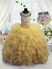 Adorable Light Yellow Ball Gowns Organza Scoop Sleeveless Beading and Ruffled Layers Floor Length Lace Up Little Girl Pageant Dress